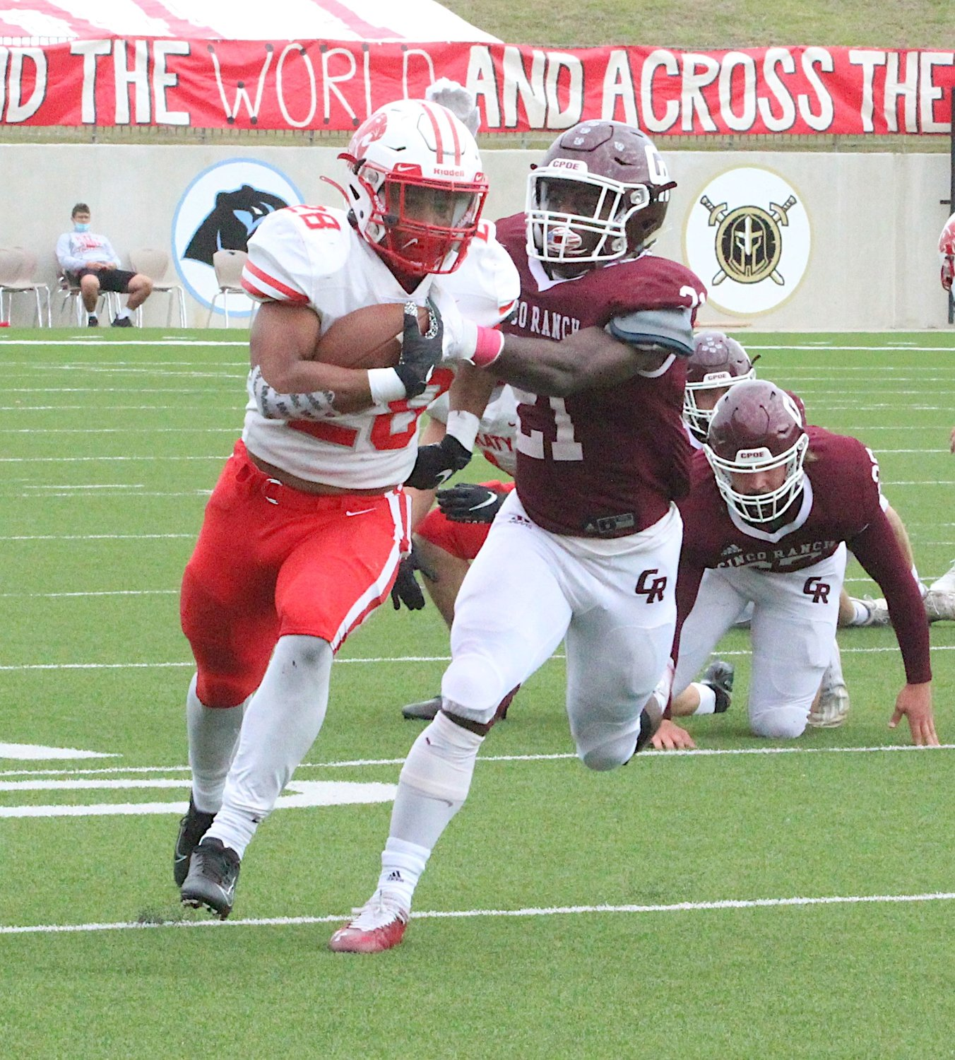 Katy High senior running back Jalen Davis had 87 yards and two touchdowns during the Tigers' win over Cinco Ranch on Oct. 24 at Legacy Stadium.