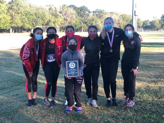 Katy High's girls cross country team qualified for regionals after placing second at the District 19-6A cross country championships Friday morning at Bear Creek Park.