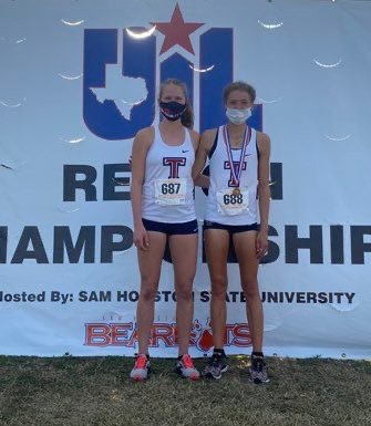 Tompkins' Addison Stevenson, right, and Hayden Gold finished fourth and 17th, respectively, at the Region III-6A cross country championships on Tuesday to qualify for the state meet later this month. Gold is the Tompkins girls program's first four-time state qualifier.