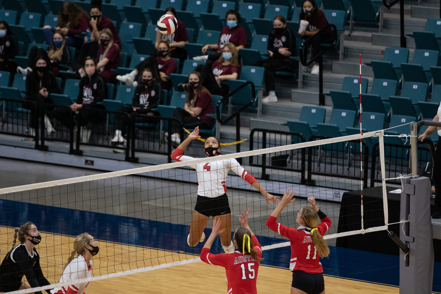 Katy High senior Perris Key goes up for a hit during the Tigers' sweep of Fort Bend Austin in their Class 6A bi-district playoff match Friday at the Merrell Center.