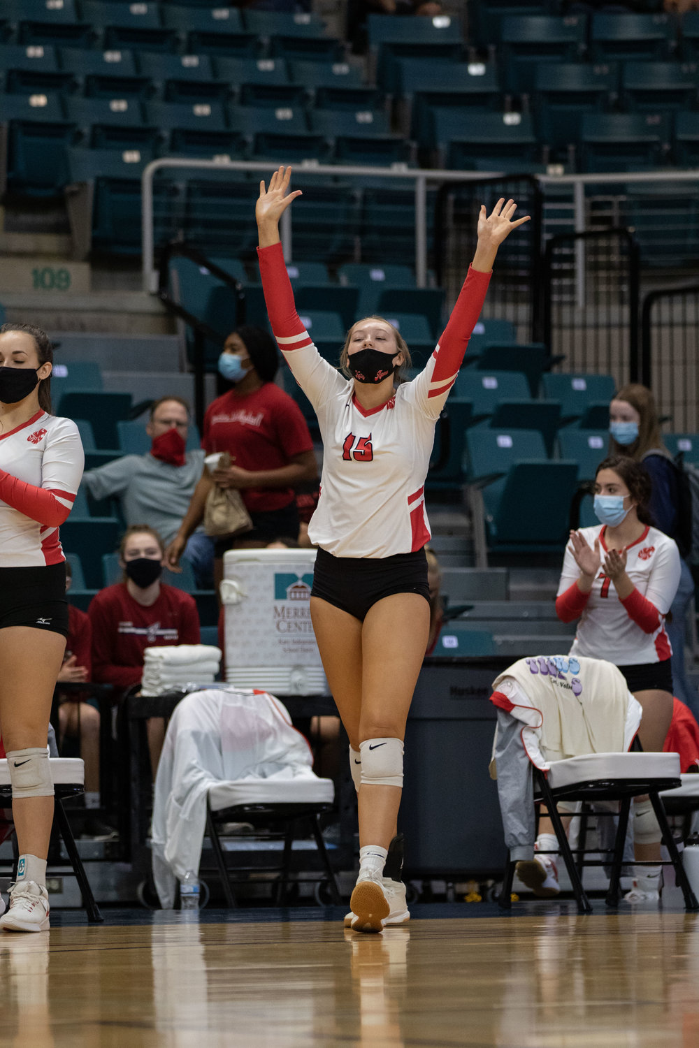 Katy High junior Jordan Gamble celebrates a point during the Tigers' sweep of Fort Bend Austin in their Class 6A bi-district playoff match Friday at the Merrell Center.