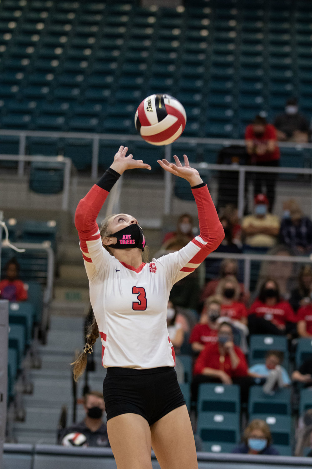 Katy High junior Kailey Wyckoff sets the ball during the Tigers' sweep of Fort Bend Austin in their Class 6A bi-district playoff match Friday at the Merrell Center.