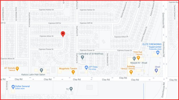 The incident, which took the lives of two men, occurred at about 7 p.m. Tuesday evening in the 19,400 block of Cypress Arbor Drive.