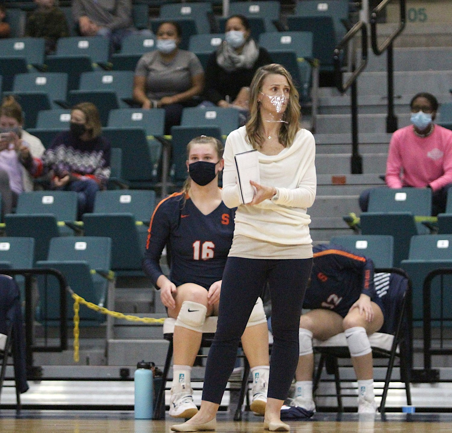 Seven Lakes coach Amy Cataline looks on during the team's Class 6A regional final match against Katy on Dec. 4 at the Merrell Center.