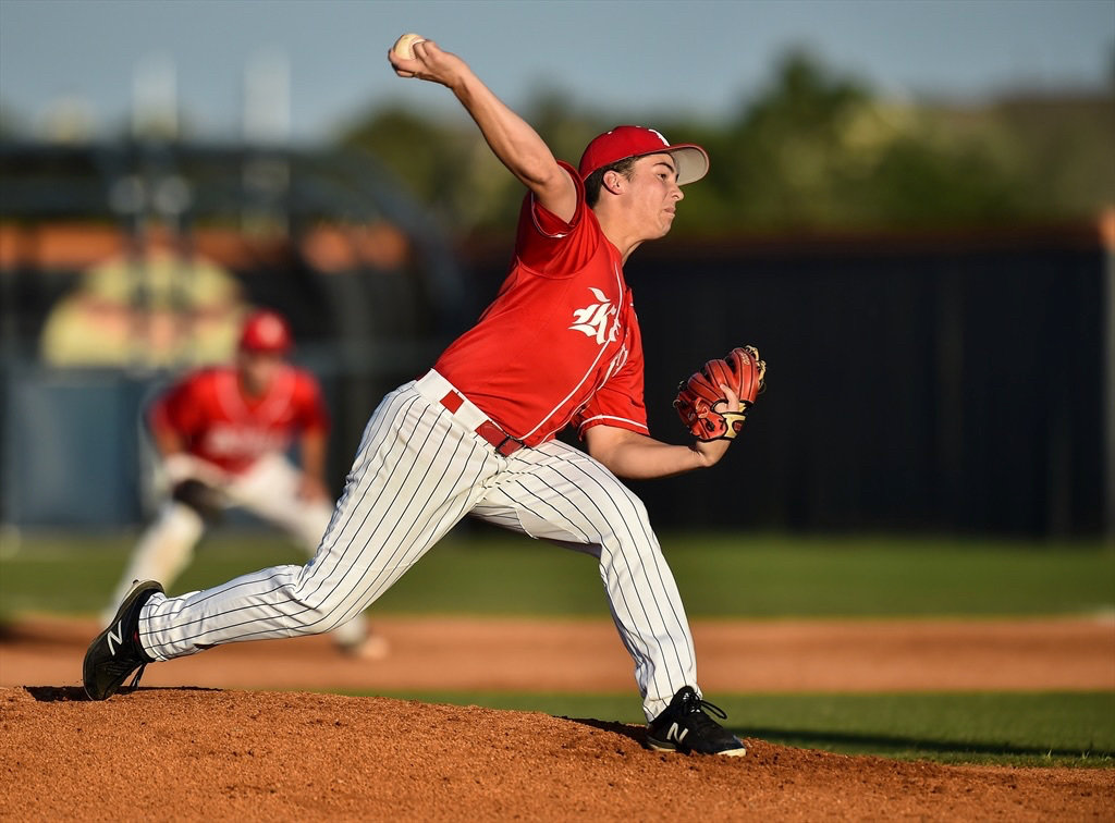 Katy High pitcher/infielder Caleb Matthews, shown here during his sophomore season in 2018, is bound for Rice after being offered a two-way role with the Owls.