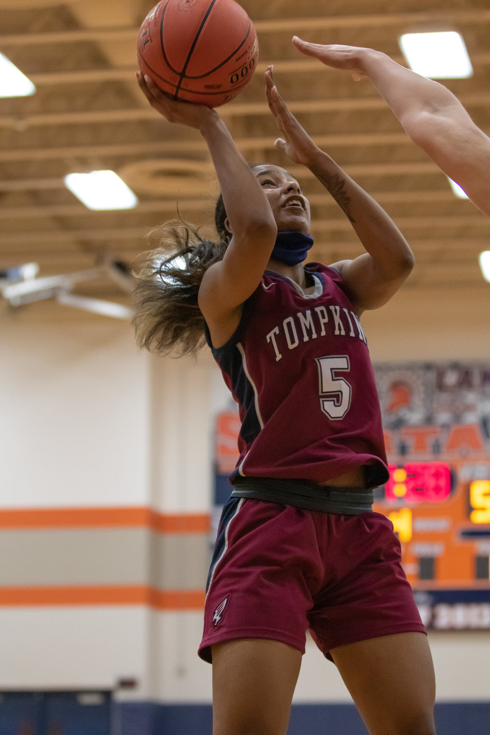 Tompkins senior guard Crystal Smith goes up for a shot during a game against Seven Lakes on Tuesday, Dec. 29, at Seven Lakes High.