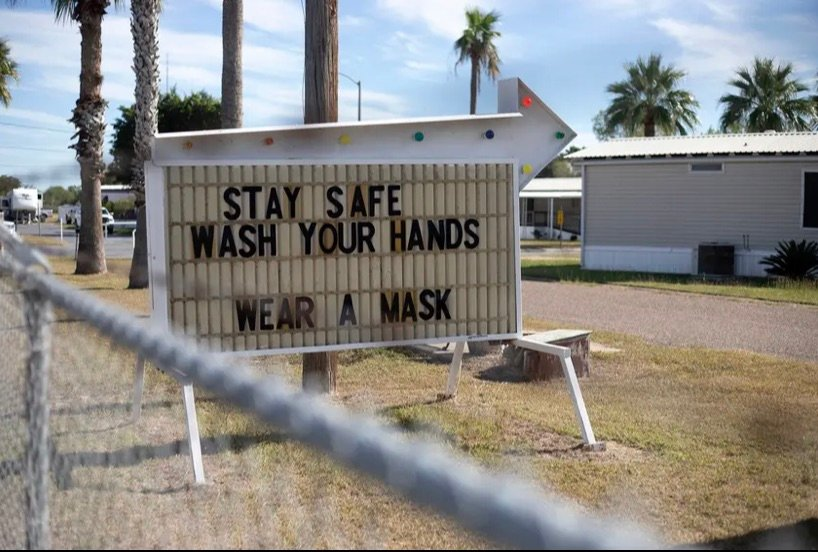 A sign urges resident to stay safe during the COVID-19 pandemic in Hidalgo County.