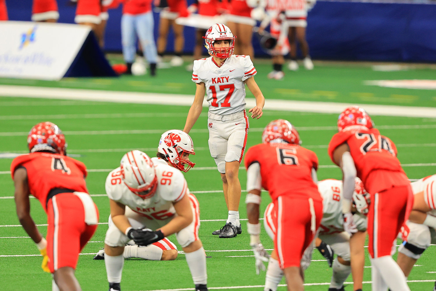 Katy High senior kicker Nemanja Lazic lines up to attempt a 48-yard field goal in the first half of the Tigers' 51-14 Class 6A-Division II state championship win over Cedar Hill on Saturday, Jan. 16, at AT&T Stadium in Arlington. Lazic made the field goal, tying a UIL state record for longest field goal made.