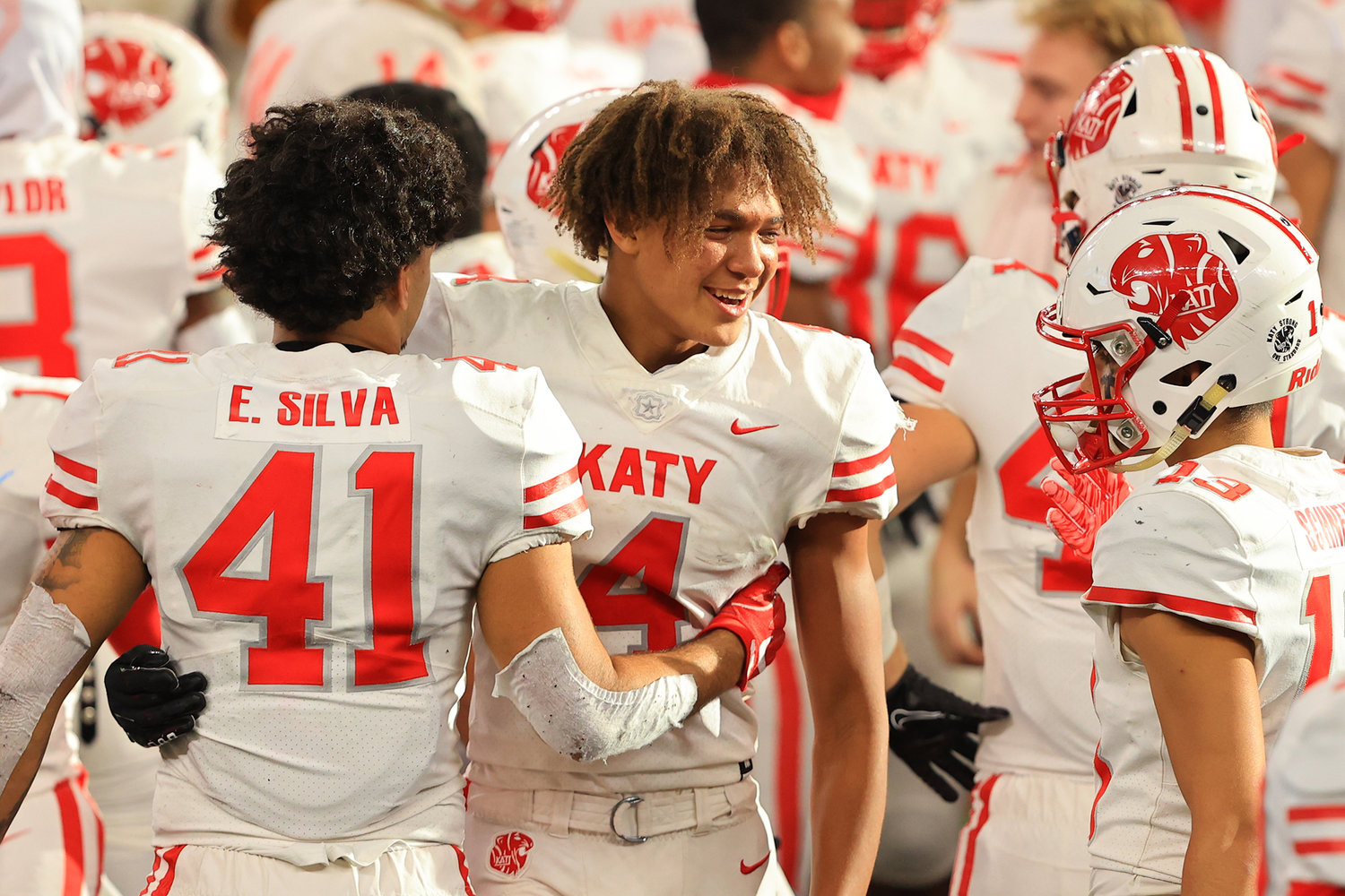 Katy High junior receiver Nic Anderson (4) celebrates after the Tigers' 51-14 Class 6A-Division II state championship win over Cedar Hill on Saturday, Jan. 16, at AT&T Stadium in Arlington.