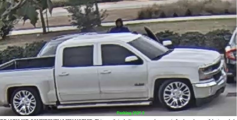 Katy ISD police are seeking the driver of this white Chevrolet pickup after tires were stolen from a vehicle at Cinco Ranch High School Thursday.
