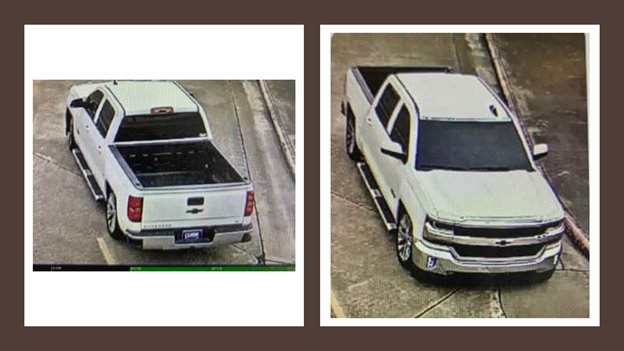 These additional views of the vehicle from security cameras show the blue plate cover that the perpetrator used to conceal the license plate on his vehicle. There appears to be no front plate at all.