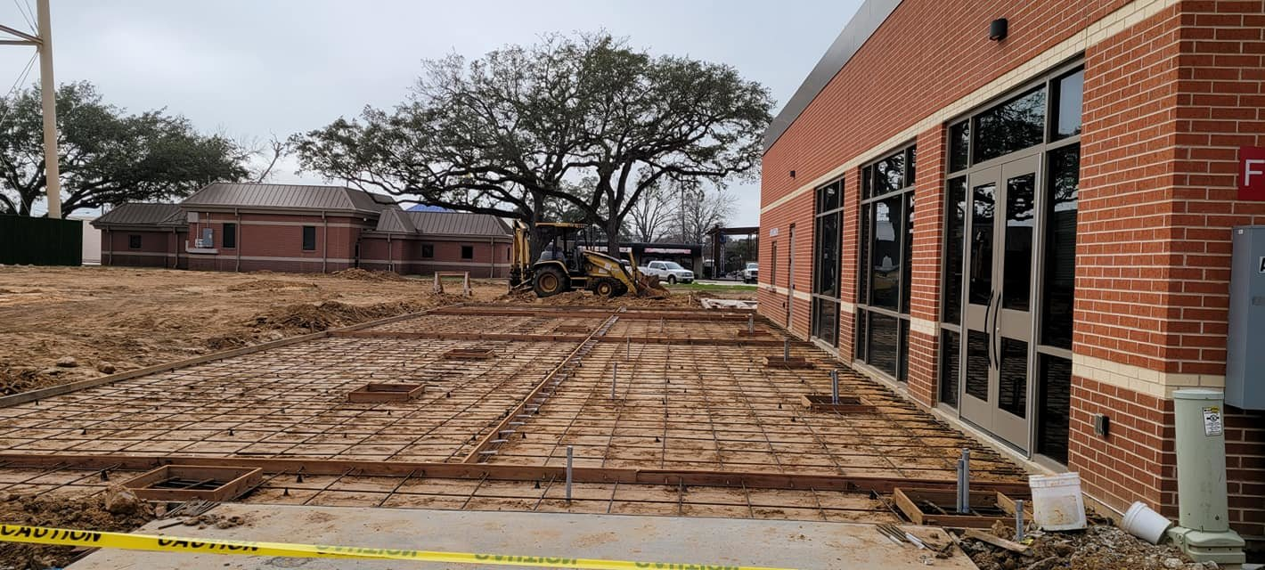 Katy City Council heard an update from LJA Engineering and city staff regarding Harvest Plaza in downtown Katy. Concrete was expected to be poured for the framed patio area behind the new Katy Civic Center the Tuesday afternoon following the meeting.