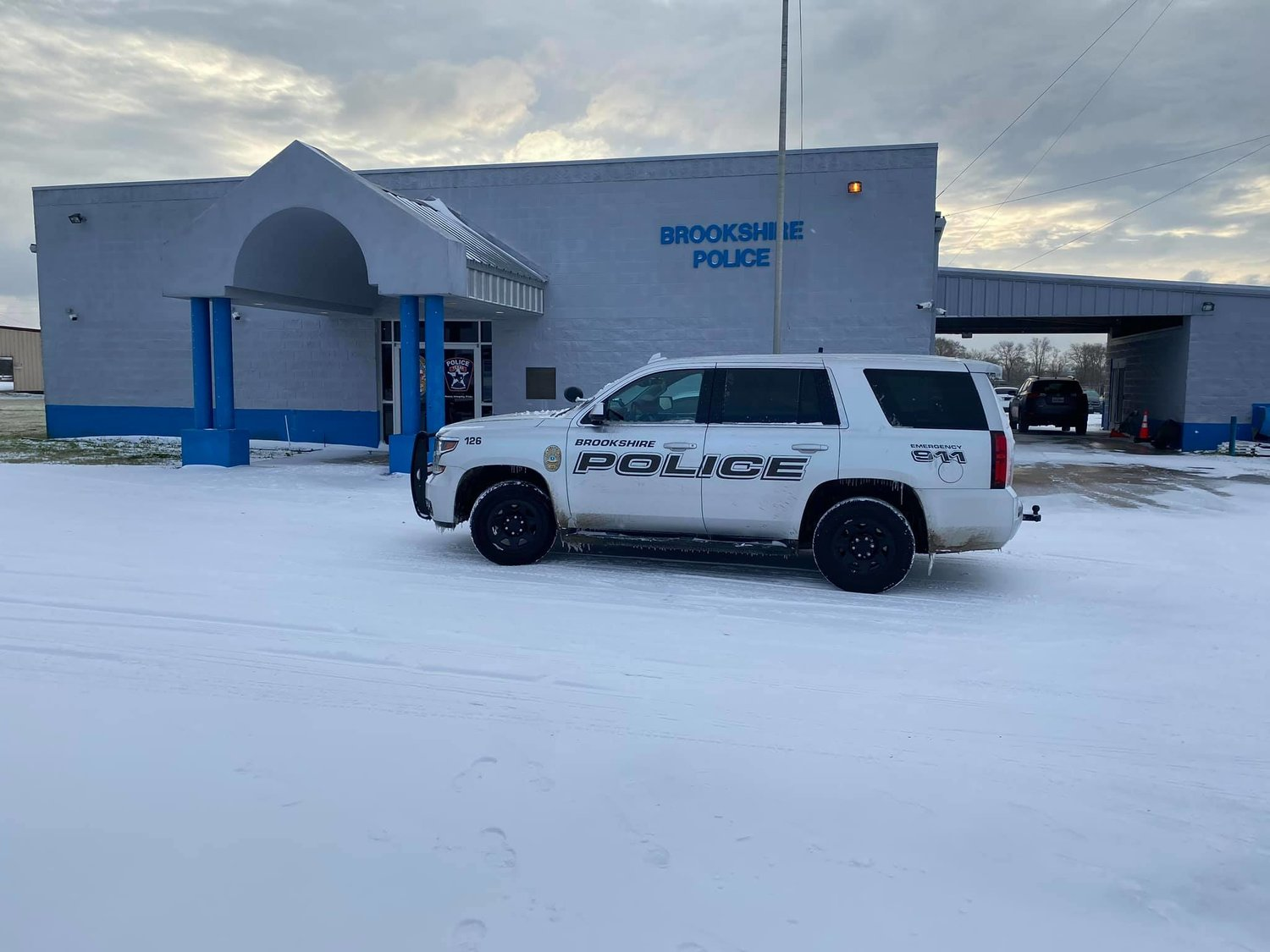 A Brookshire Police Department patrol vehicle sits outside of the Brookshire PD office Monday, Feb. 15. Much of the city's information regarding the storm was issued through the Brookshire PD Facebook page.