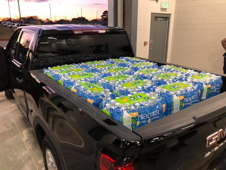 Waller County Judge Trey Duhon was hands-on in assisting county residents. In this photo, Duhon's personal vehicle is loaded with bottled water to be delivered to Brookshire residents on Feb. 21.