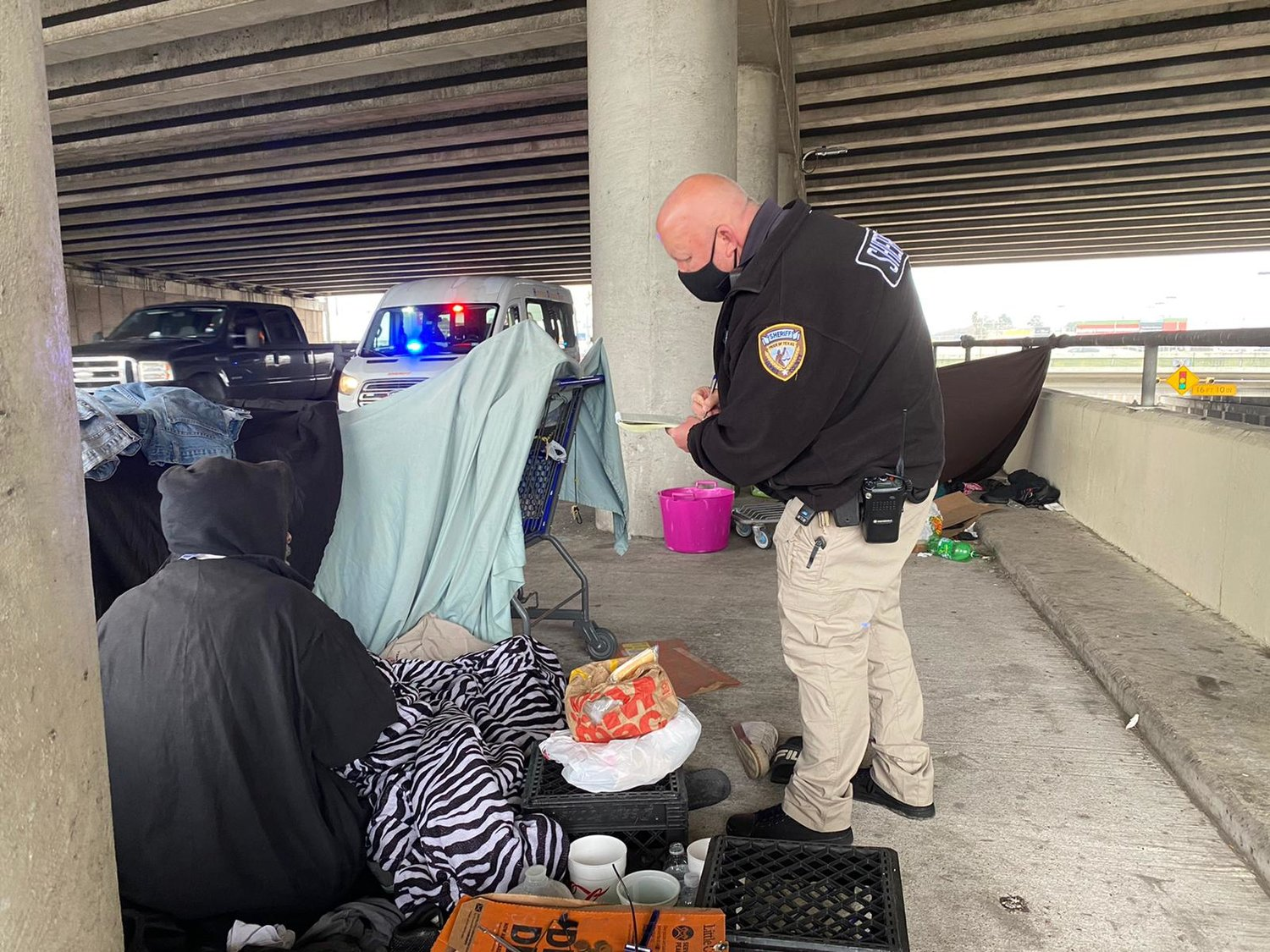 Harris County Sheriff's Office deputies reached out to the homeless ahead of Winter Storm Uri and during to assist them in seeking shelter from the sub-freezing temperatures.