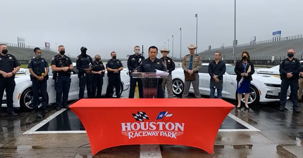 Law enforcement agencies from throughout the Greater Houston area joined Harris County Sheriff Ed Gonzalez for a press conference at Houston Raceway Park on Tuesday, March 16. During the press conference, Gonzalez announced that enforcement of laws against street racing would be ramped up throughout the week and into the weekend as racers from across the country came to town for the TX2K21 Roll & Drag Race Nationals at Houston Raceway Park.