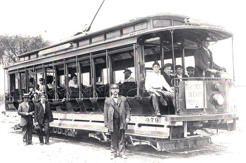 Trains and trolleys were popular modes of transportation to Crescent Park. This trolley from 1910 is from Pawtucket.