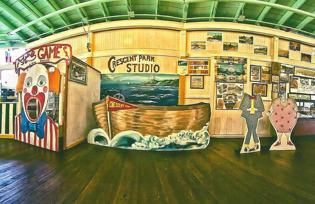The old Crescent Park studio has been re-created by Ed Serowik. Visitors can take a picture today as was done back in the park