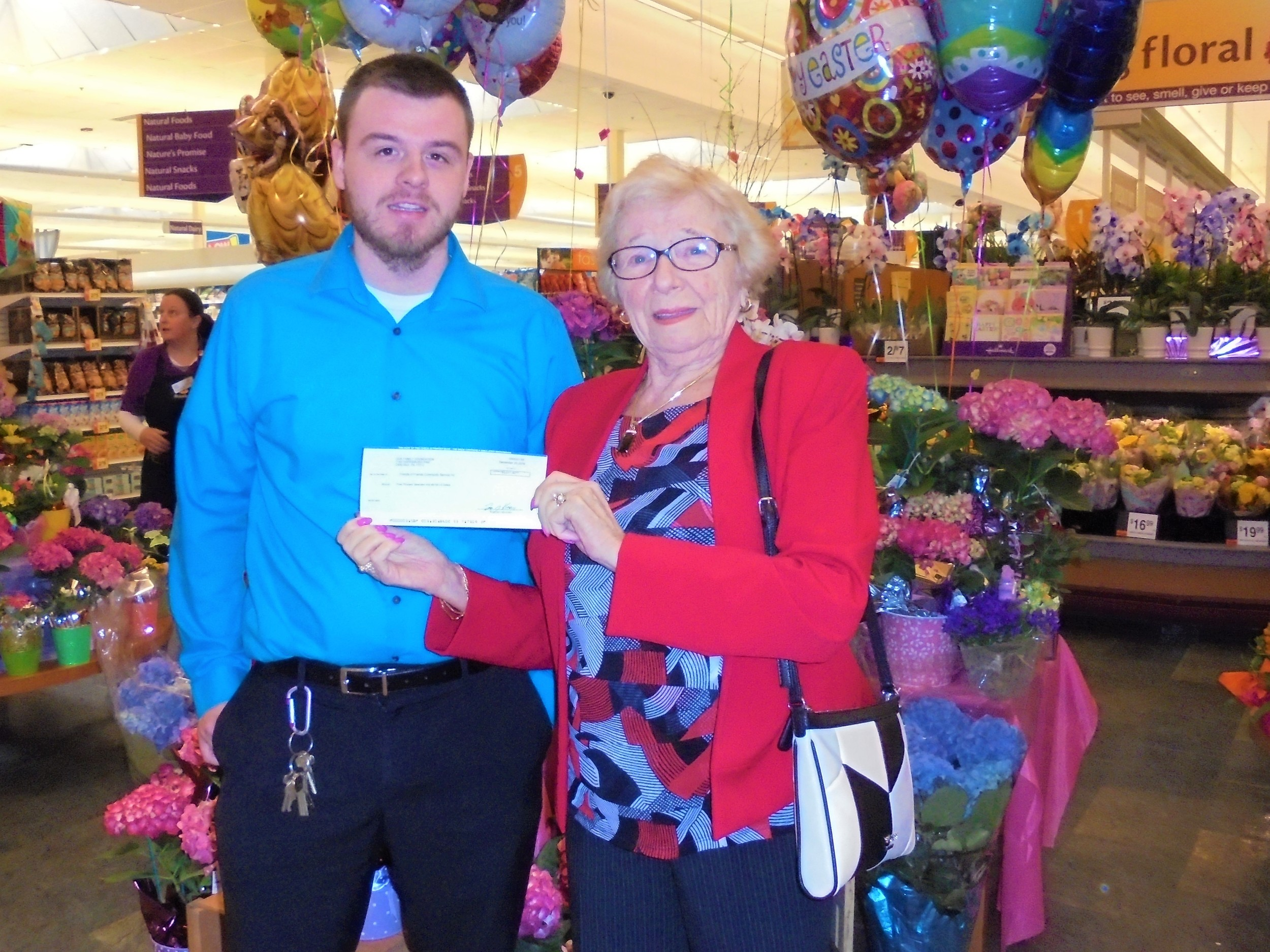 Jimmy Lewis, Customer Service Manager at Stop & Shop on Highland Ave in Seekonk presented Edith Krekorian, President of Friends of Friends a check for $3,017.40
