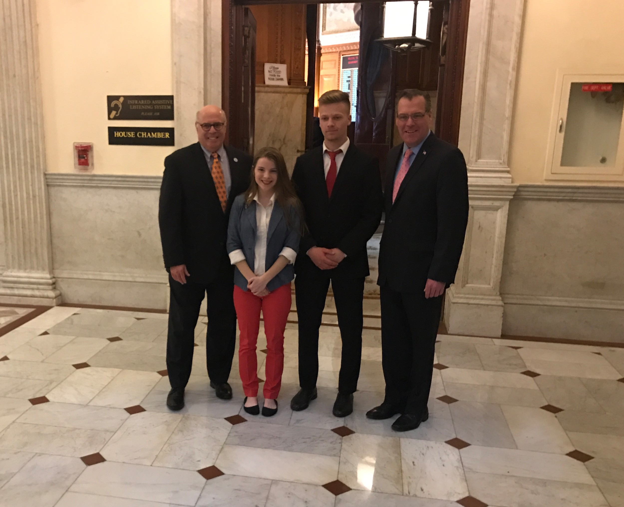 Jessica-Lyn Sweet and Joshua Lane of Seekonk HS with JT and Representative Howitt