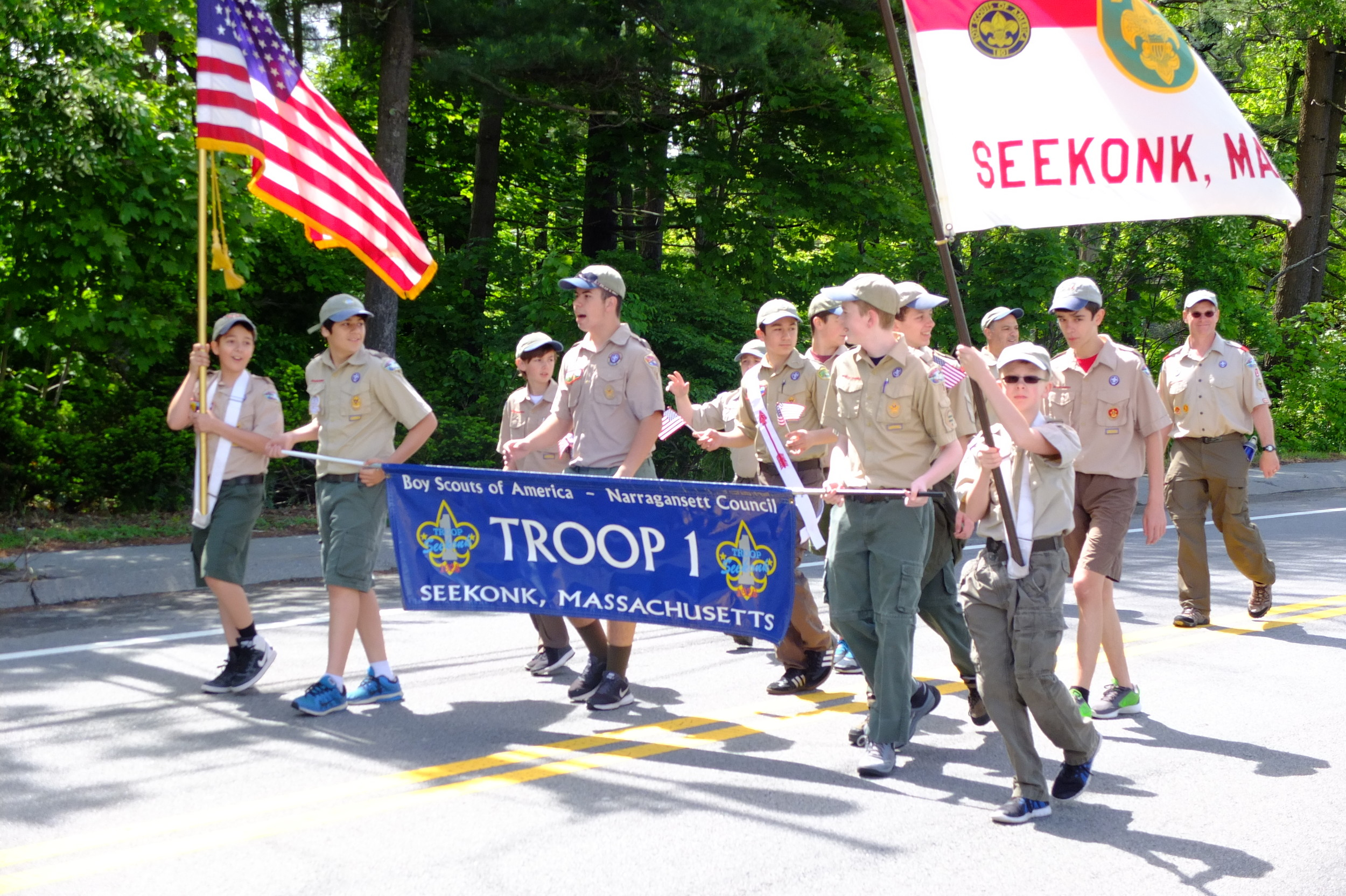 Boy Scout Troop 1 of Seekonk marches in the parade.