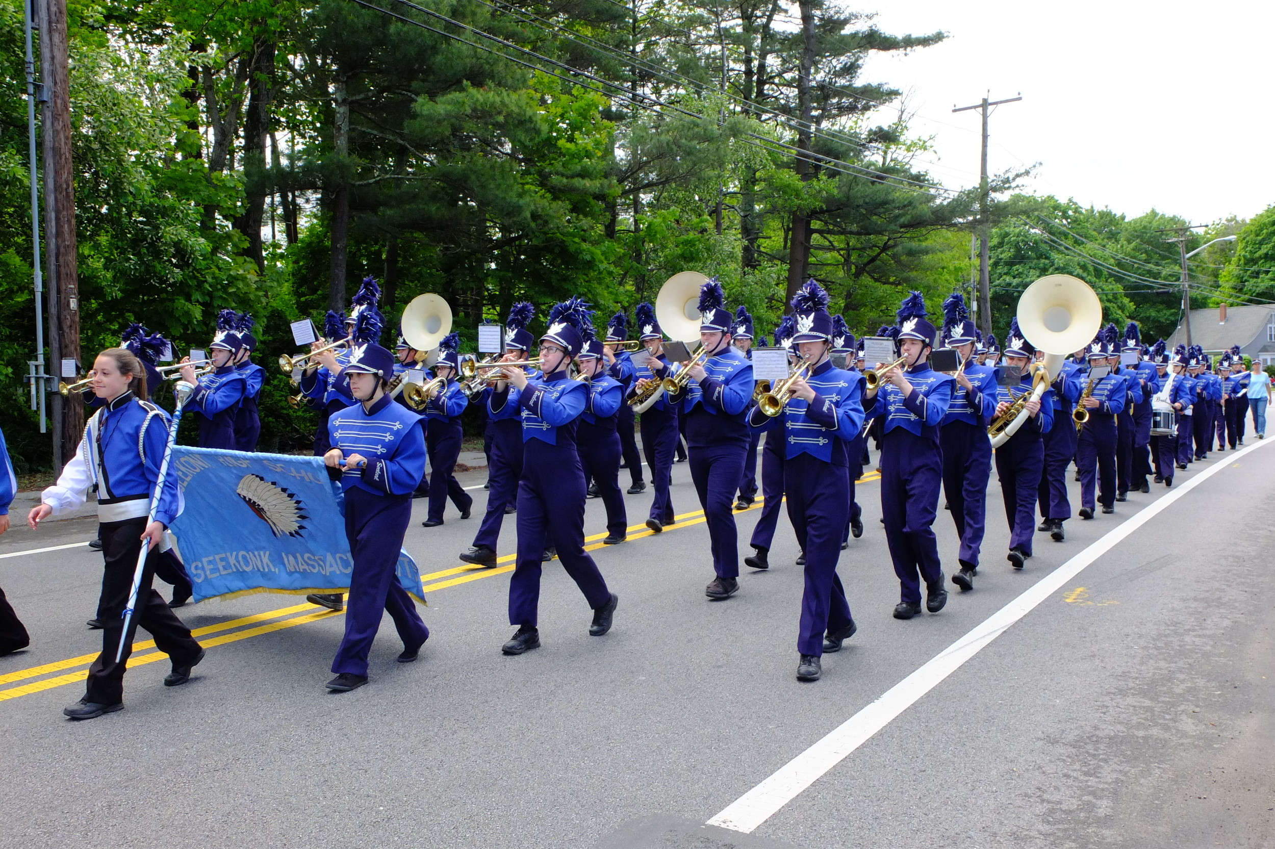 Seekonk High School band marches in the parade.