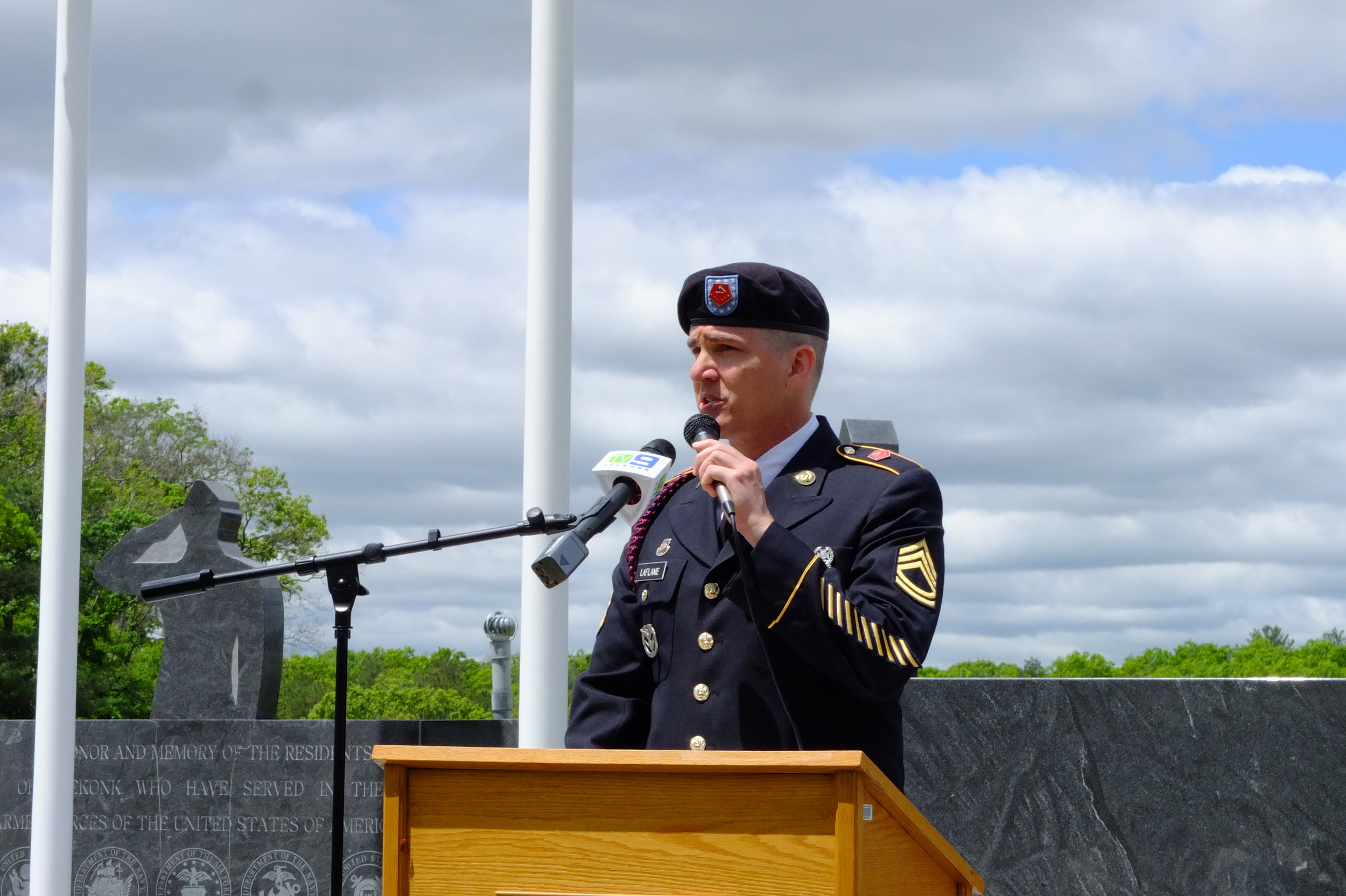 Seekonk Veterans' Services Officer James LaFlame Opens Memorial Day ceremony.