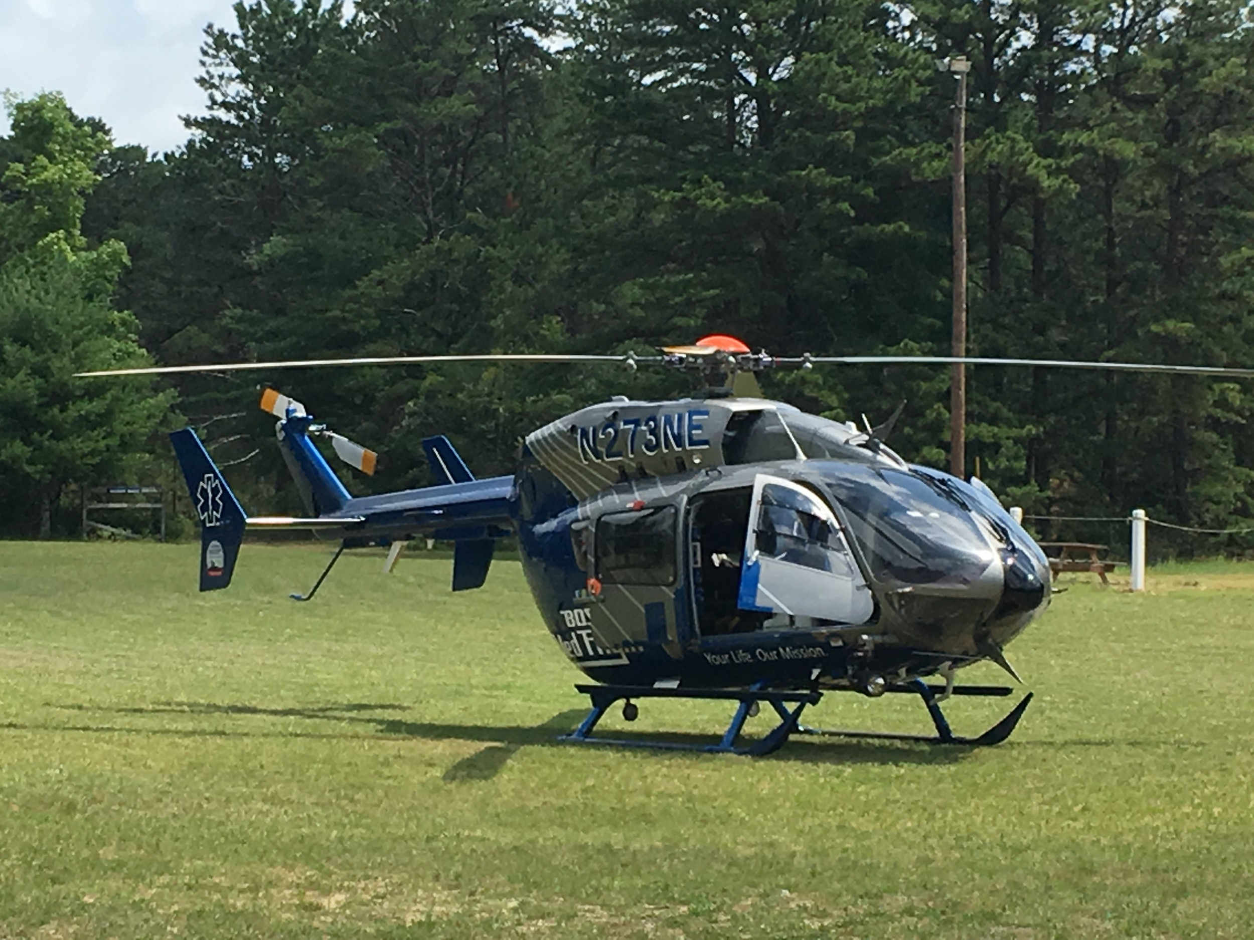 The Boston Med Flight Landing in the field!!