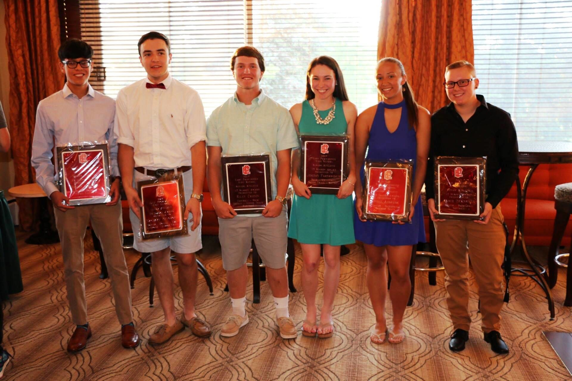 Six EPHS seniors who received awards in June for playing 12 seasons during their 4 years at EP, from left to right Elliot Charron, Zach Pangborn, Riley Cronin, Jordan Farnsworth, Julia Andrade, and Amber Drainville.