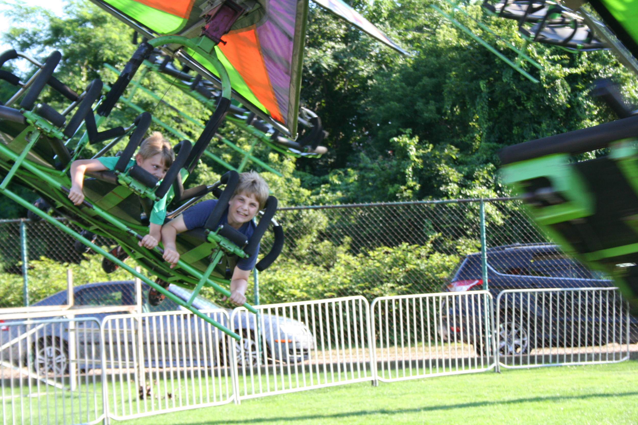 Ethan and Seth Guertin soaring on the Cliff Hanger.