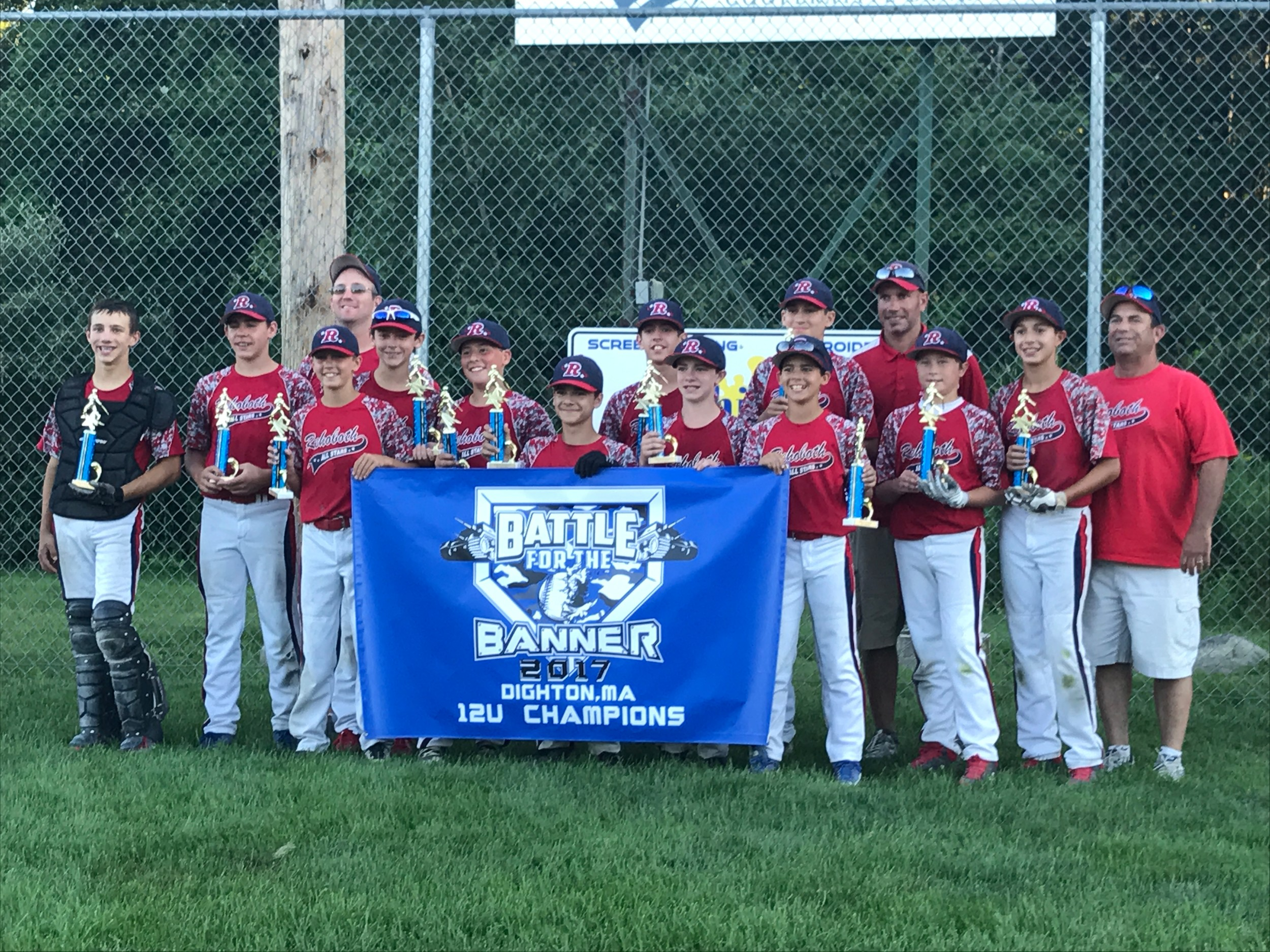 "Rehoboth 12U Players celebrate winning the ""Battle of the Banner"" in Dighton."