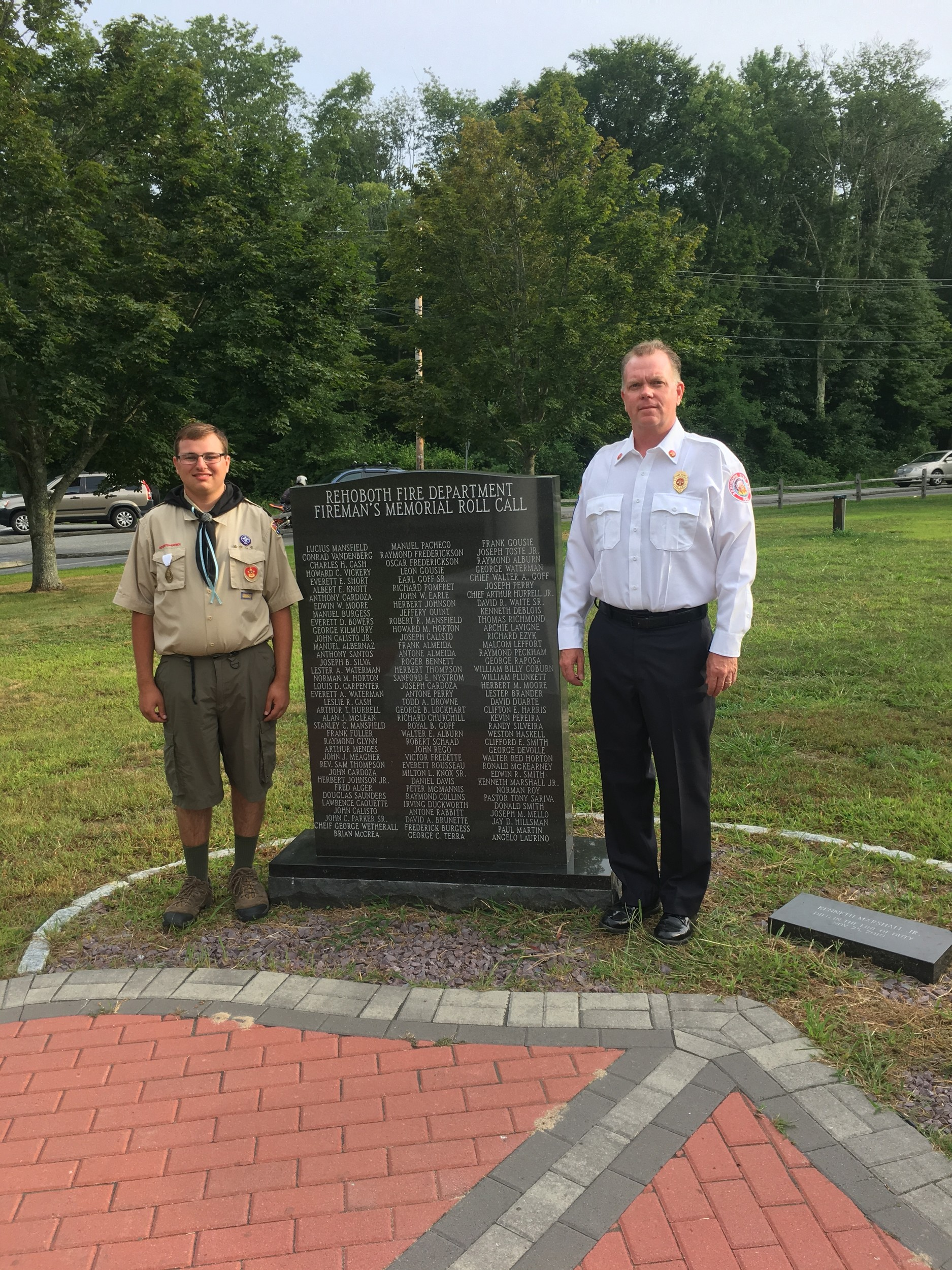 Eagle Scout Project Michael and Asst Chief Haskell at Station #3