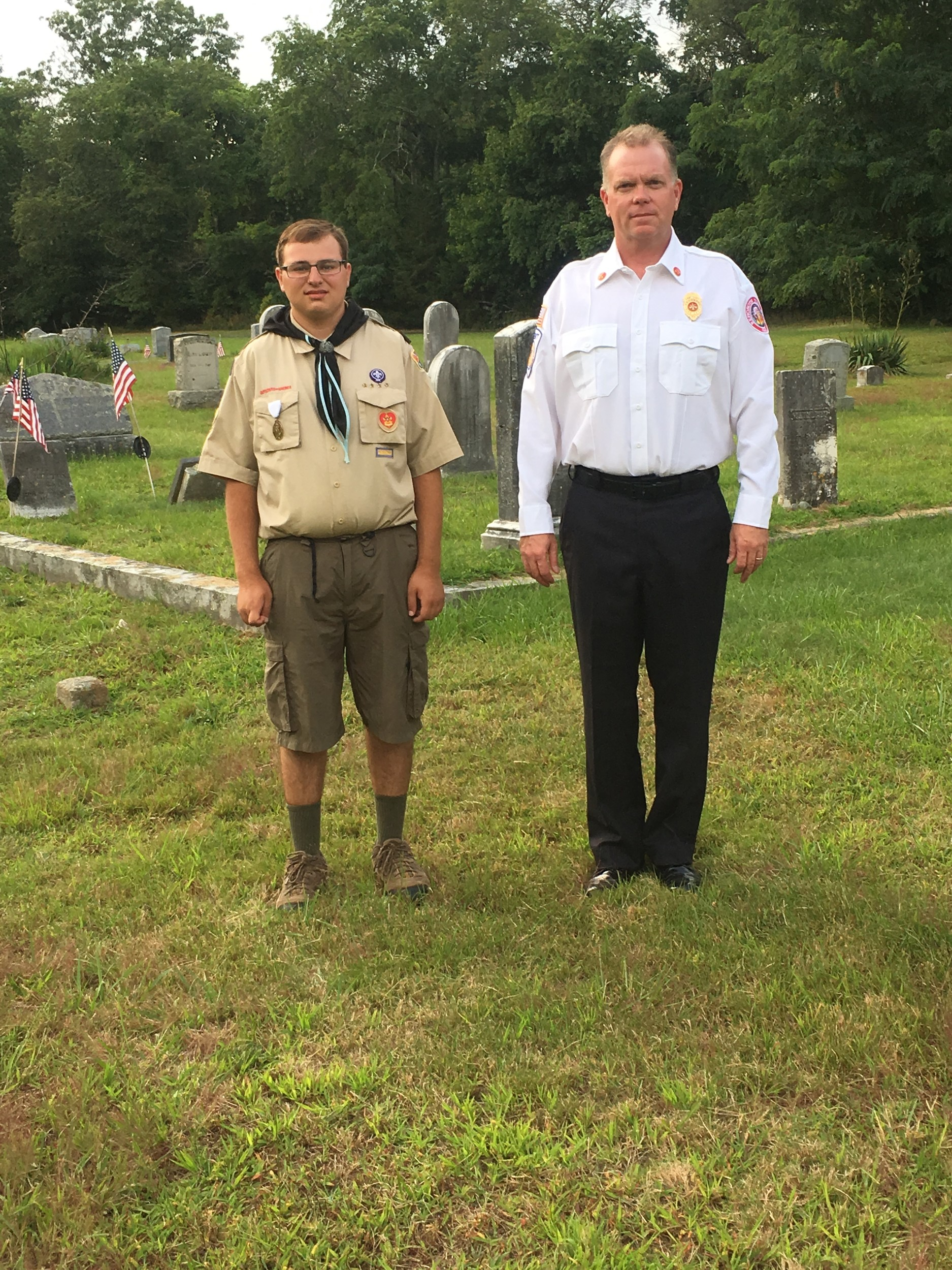 Eagle Scout Project Michael Koussa and Asst Chief Haskell at Greenwood Cemetery