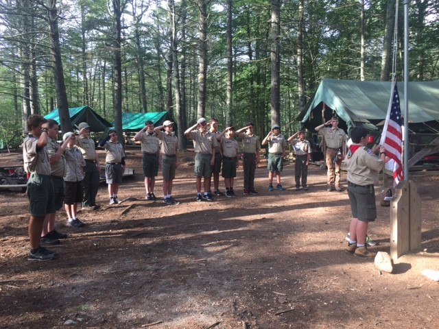 Troop 1 Scouts retiring the colors for the night at Camp Yawgoog, Camp Sandy Beach, George Washington