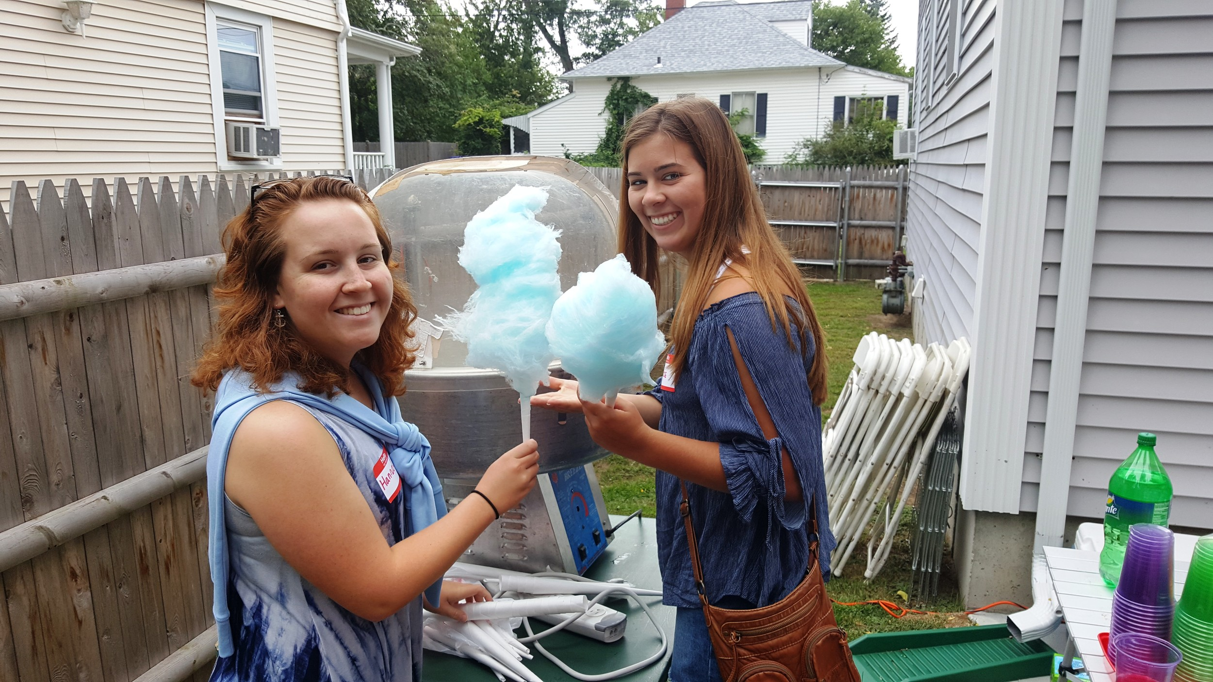 Making cotton candy for the Cabral family reunion.