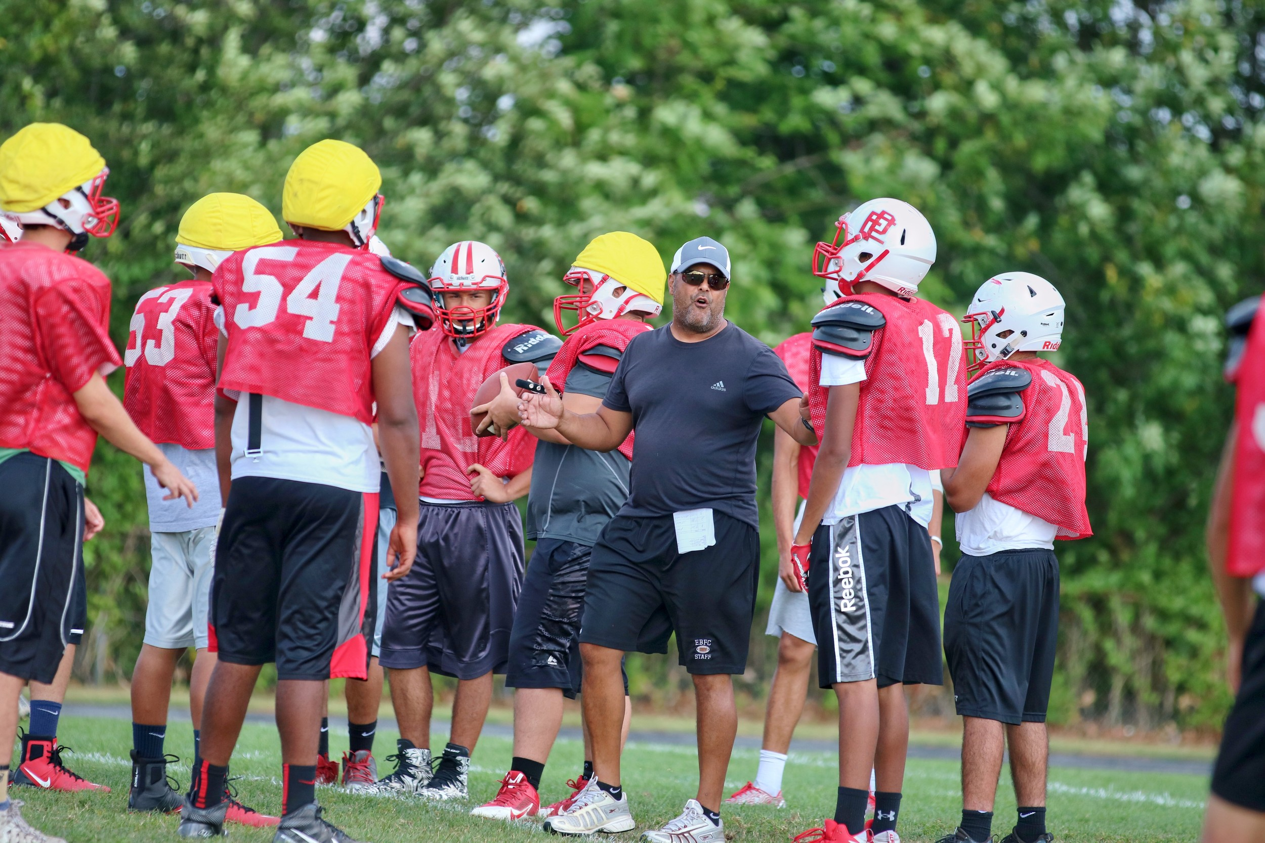 EPHS head Coach Jay Monteiro during pre-season football workouts for the Townies Photo by Paul Tumidajski.