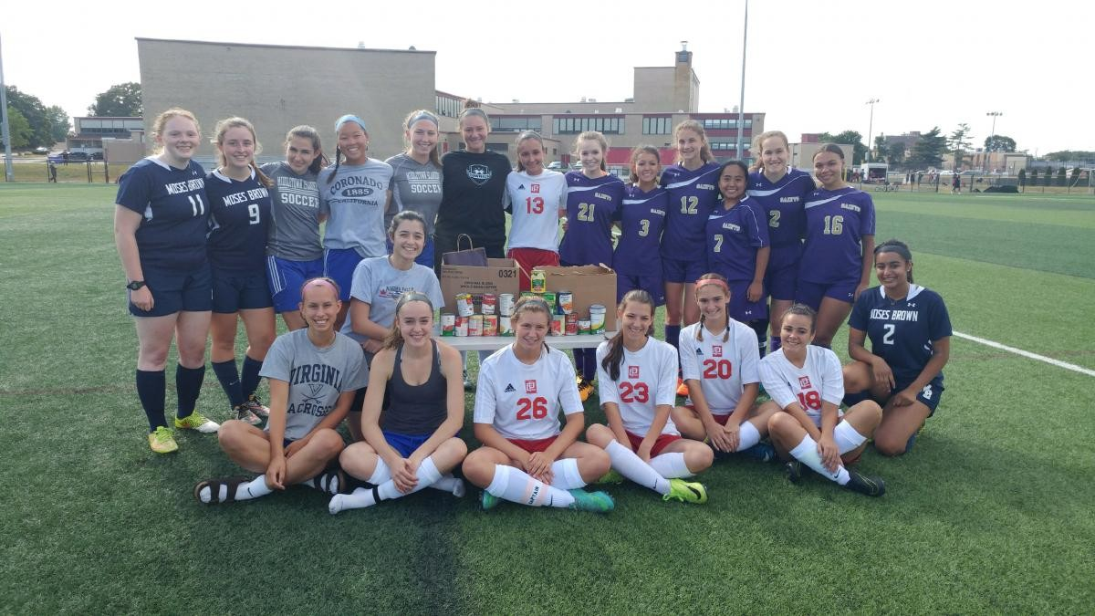 "The EPHS girls soccer team hosted an injury fund round robin with Moses Brown,  St. Ray's and Middletown.   Each team donated canned goods and non-perishables for  ""The Good Neighbors in Riverside.""  Pictured are the seniors from each team."
