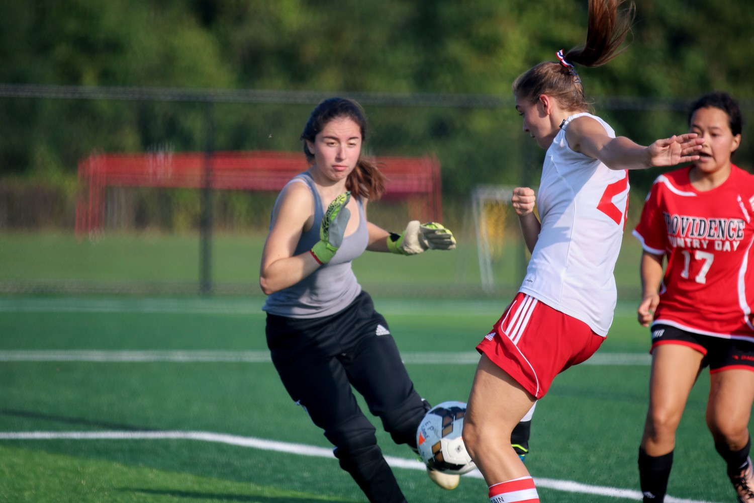 Grace Abrams scoring goal for the Townies against PCD. Photo Paul Tumidajski.