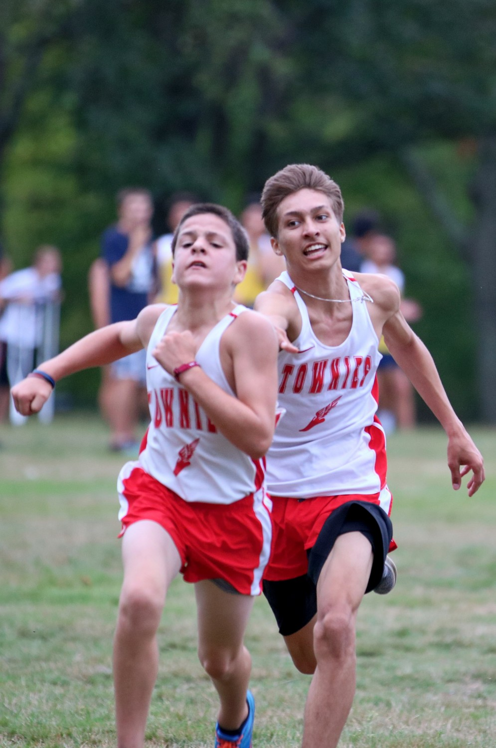 Cody Danz (front) and Jarin Bento (back) finishing strong for the Townies vs St. Raphael and Barrington. Photo Paul Tumidajski.