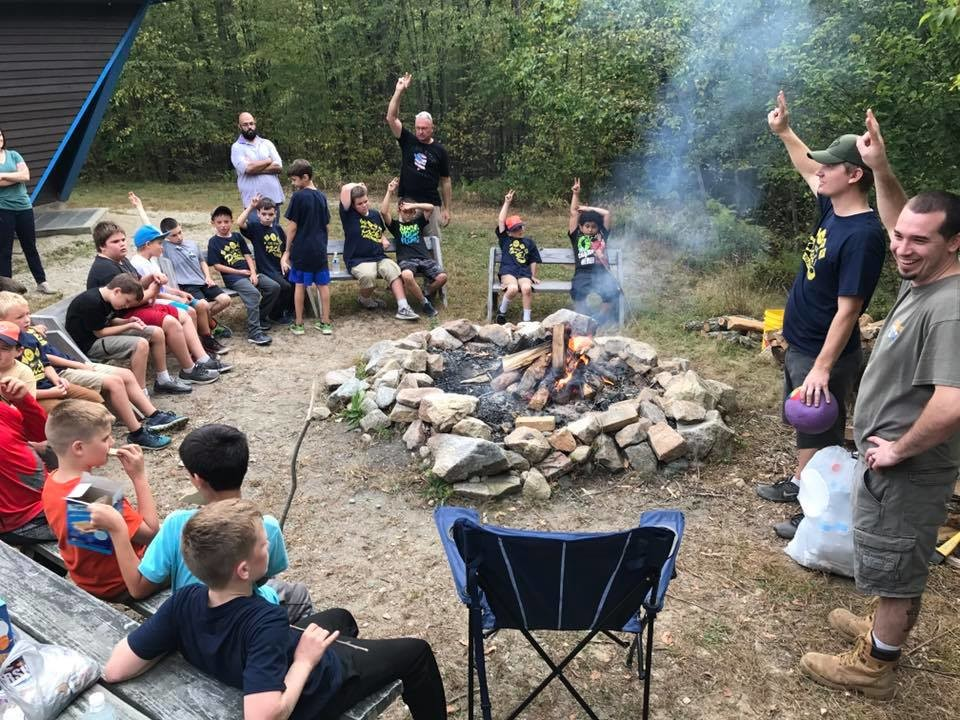 Learning Camp Fire Safety, with Cubmaster Dan Bessette and Assistant Cubmaster Josh Avery