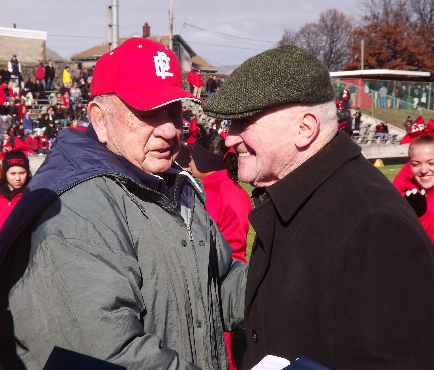 Thanksgiving coaching icons Bill Stringfellow, left and Jim Deffley. Both were honored at Pierce Field in 2014.