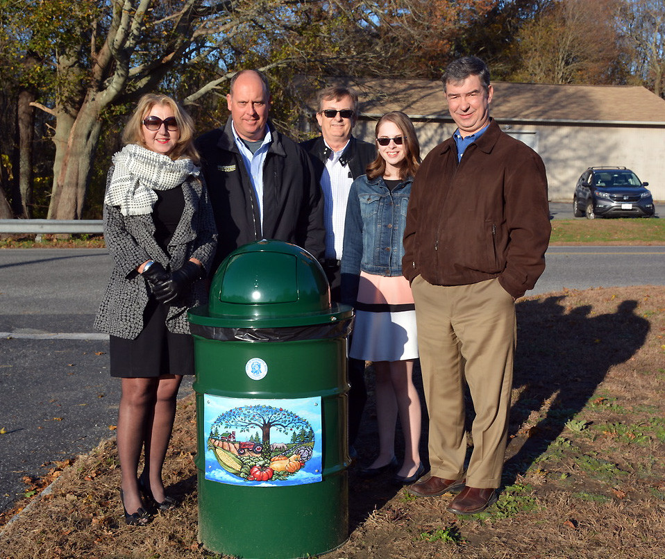 Rehoboth teen environmentalist Abby Abrahamson with RBA board members. Left to right:  Treasurer Diane Rochefort, President Tim Johnson, Vice-president John Jordan, Rehoboth Litter Prevention Coordinator Abby Abrahamson, and RBA board member Luke Travis.