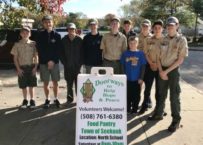 Some members of Seekonk Boy Scout Troop 1 who collected the donation.