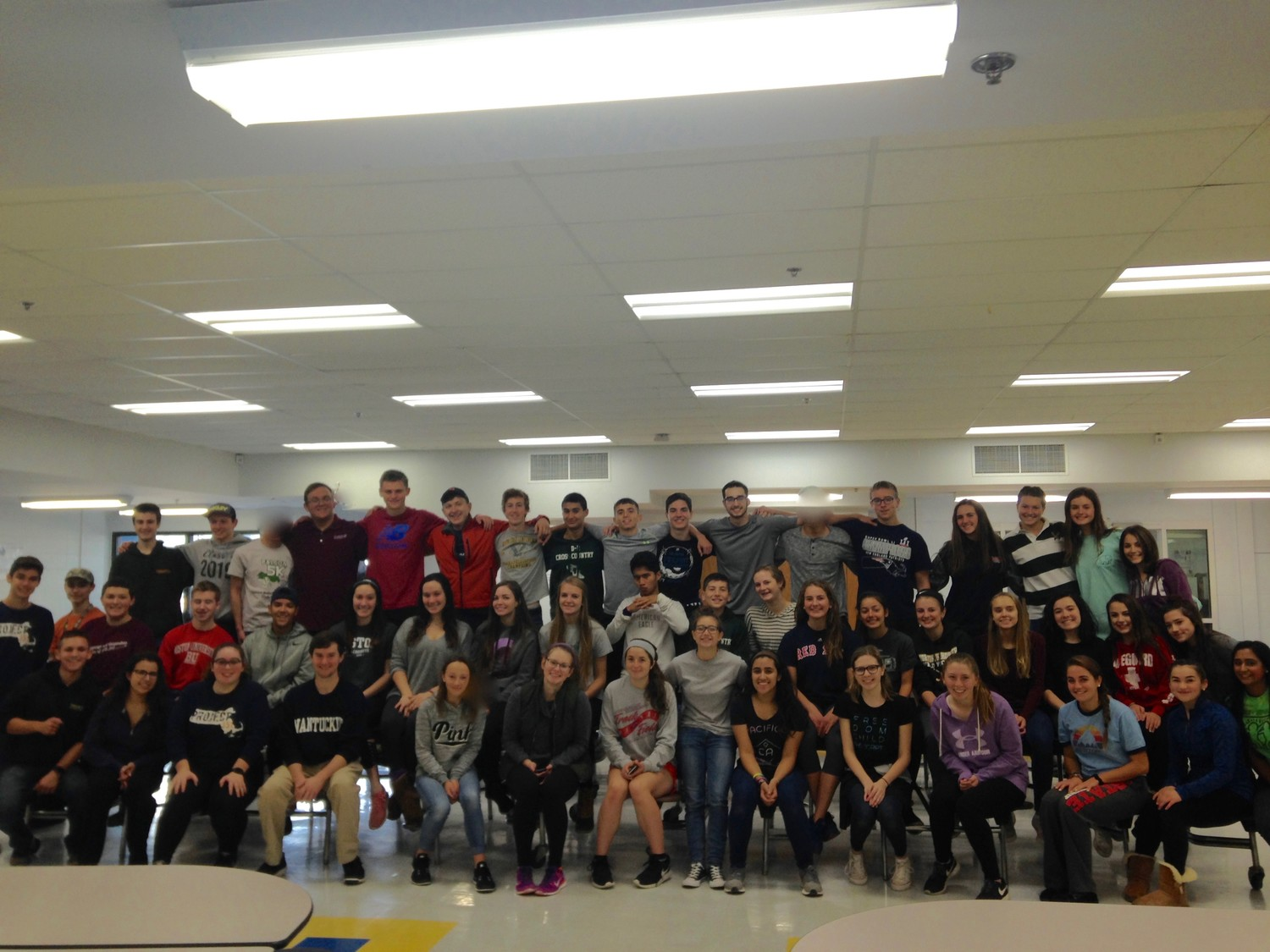 Student government and other students helped to sort canned goods on Saturday to distribute to the community""