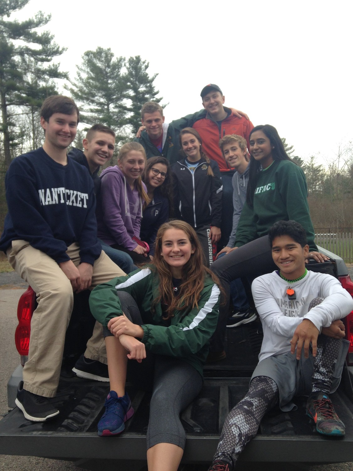 Joseph Reed, Owen Conti, Ian Sullivan, Sam DuBois, Peyton Maccarone, Caitlin Carro, Jackie Kucia, Kyle O'Connell, Hannah Philip, Megan Alves, and Nate Rogers are some seniors that spearheaded the can drive and pose after they unloaded a truck full of goods""