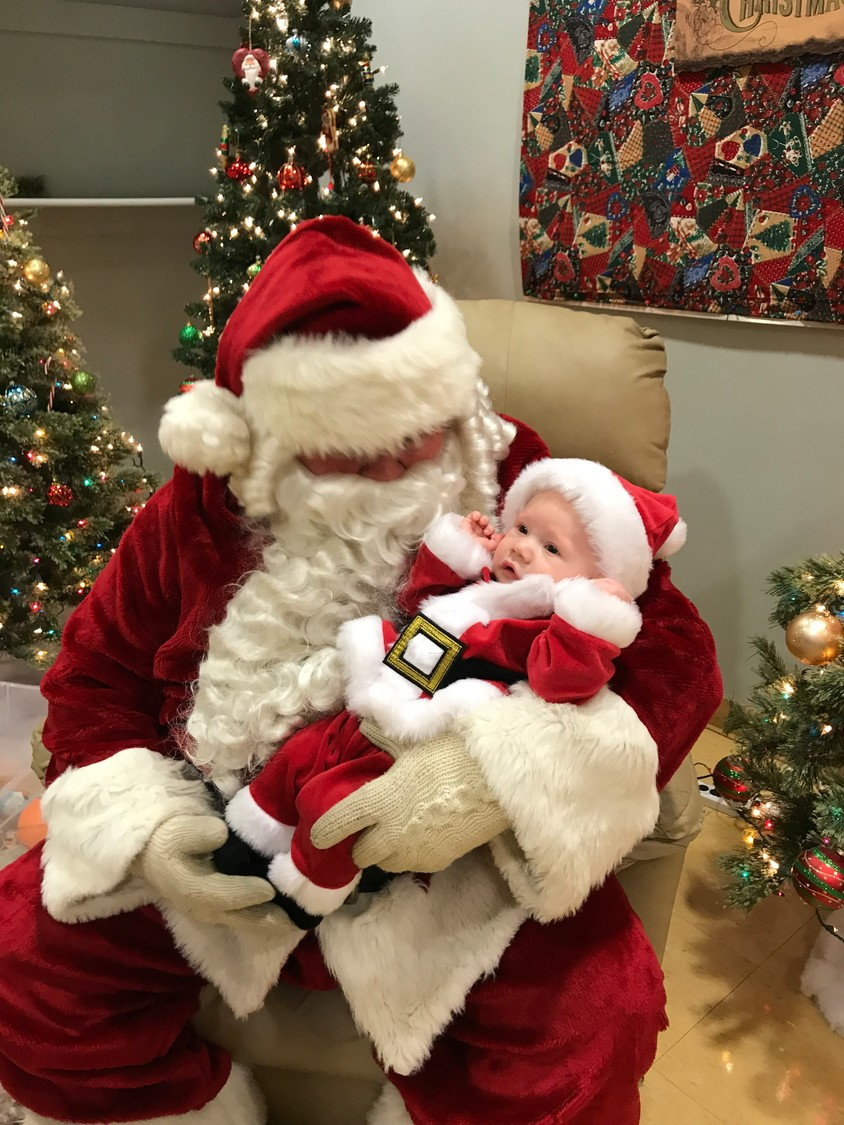 Santa with Baby Santa, Philip Sherman 4 months old, grandson of Linna Sherman