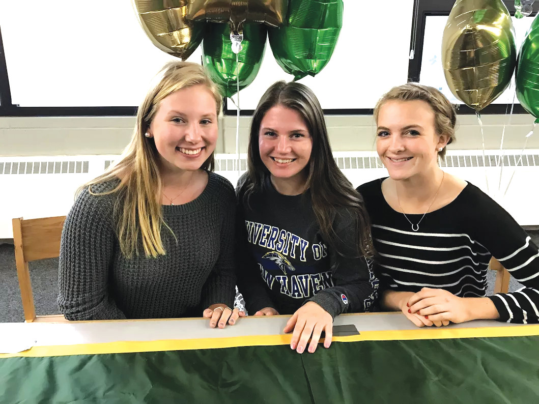 Left to right Allison Ainley, Assumption College, Mia Iodice, University of New Haven, Emily Reid, University of Maine.