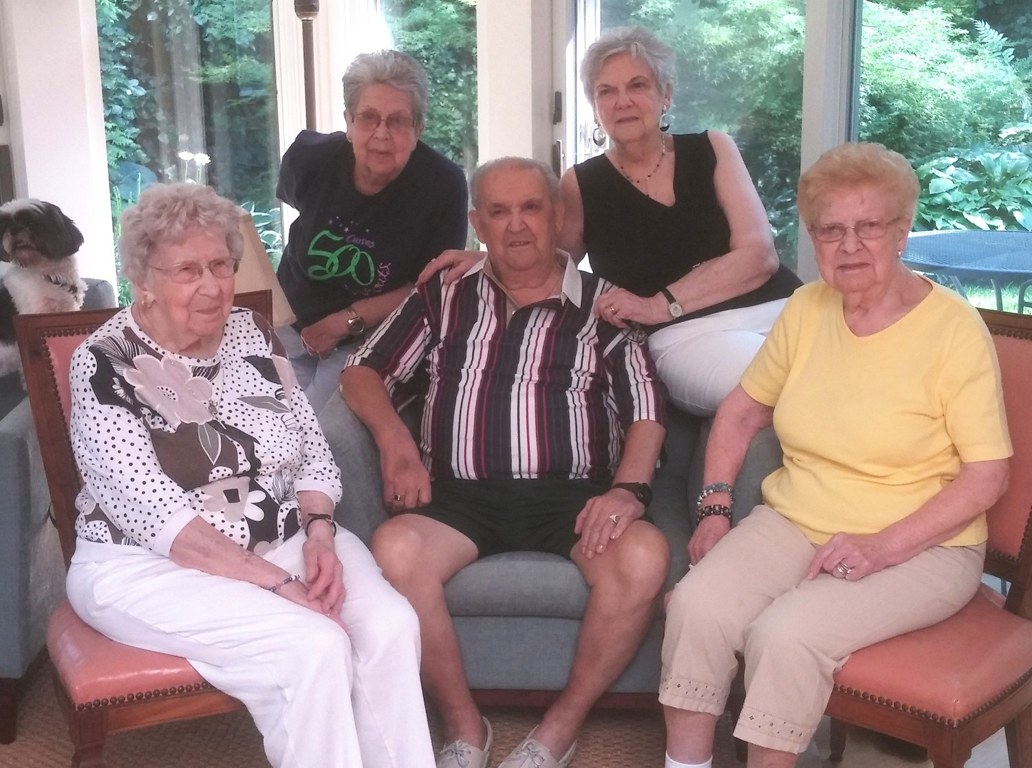 Stella Santos, Theresa Caduto, the late Manuel Lima, Lydia Moniz and Lolly Martin in a recent sibling photo. They recently honored their 100 year old sister, Stella Santos.