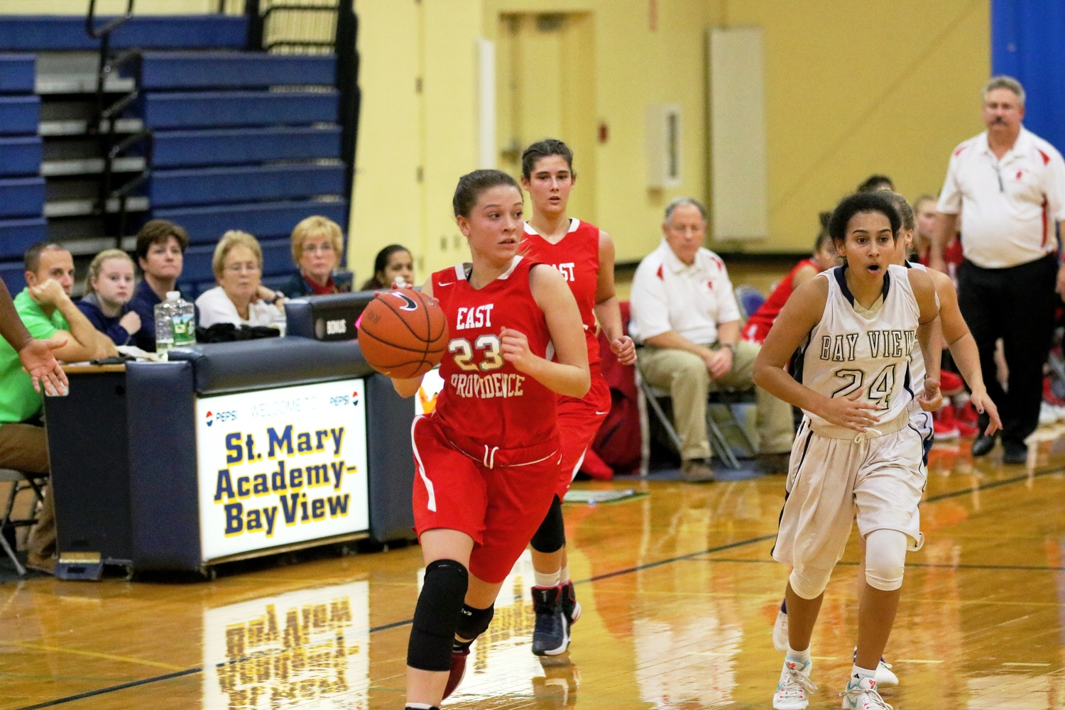Hailey Hannon of EP in basketball action.  Photo by Paul Tumidajski.