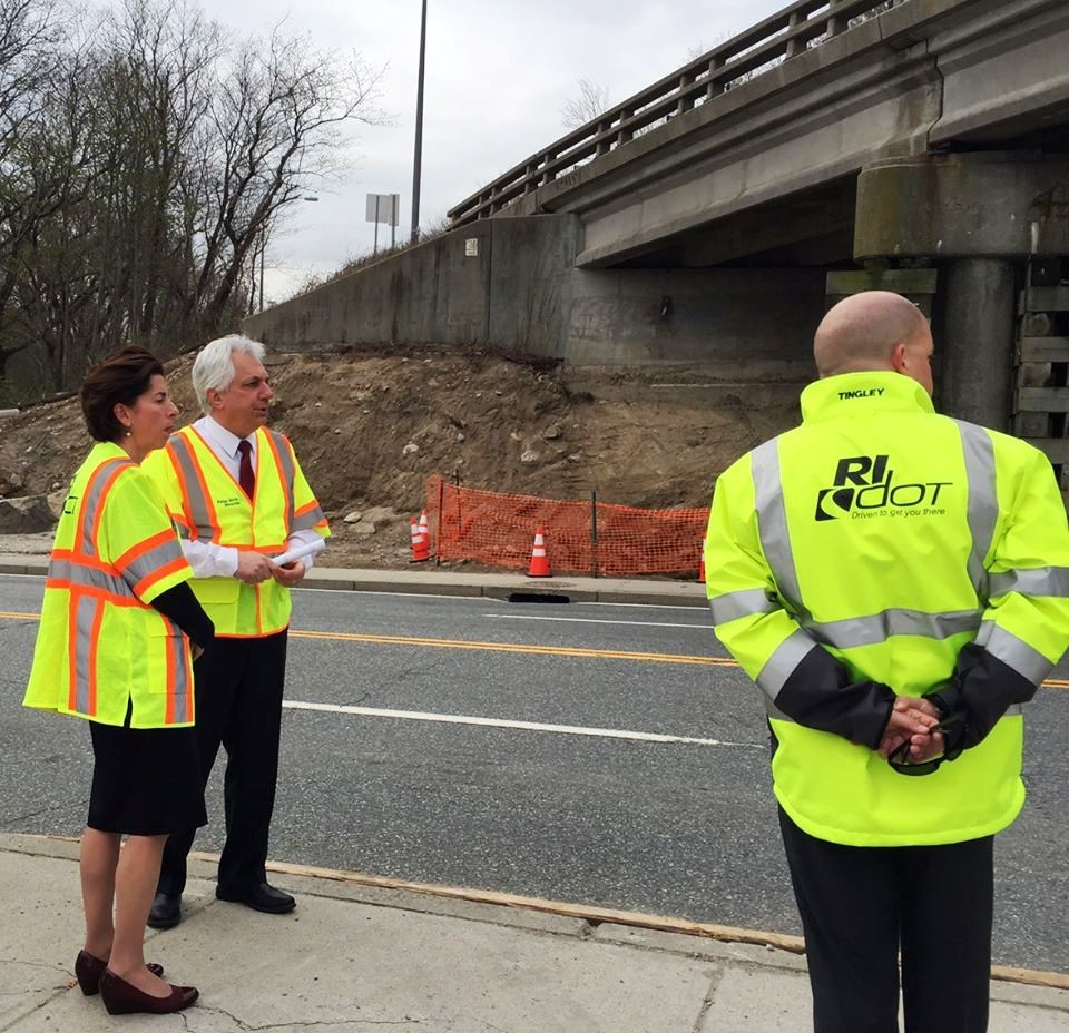 Governor Gina Raimondo and RIDOT officials at the East Shore Expressway and McCormick Quarry Bridges in EP.